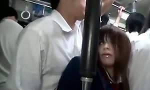 Schoolgirl Getting Her Tits And Pussy Rubbed Giving Blowjob Cum To Tounge On The Bus