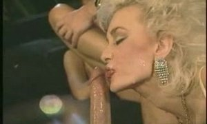 Hot milfs with big silicone tits swap cum in a vintage 4some