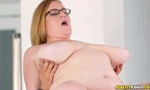 H cup tits BBW Mya Blair sucking and fucking younger guy in the kitchen