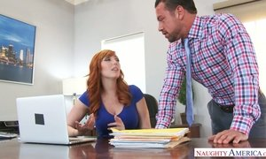 Sextractive red haired secretary Lauren Phillips is having dirty quickie with her boss