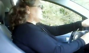 Flashing my big tits and fat ass on dashcam and getting facial