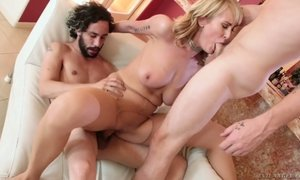 Two bisexual dudes fuck sexually charged blonde with huge boobs Maxim Law
