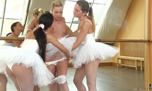 Cute ballerina Valerie Fox and her girlfriends make love in the dance studio