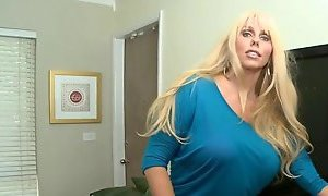 Green eyed blond with jumbo tits getting screwed after teasing