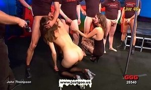 Elise and Viktoria team up in group sex