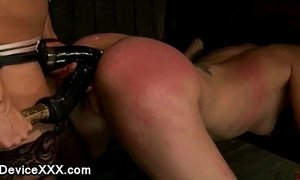 Locked in wooden stocks babe ass caned and strapon dildo fucked