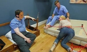 Rough anal punishment and piss facial for big ass blond
