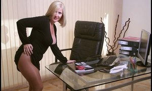 Natasha s Exposed Big Tits And Tan Pantyhose On Her Desk