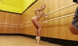 Slim ballerina Jati takes off her clothes and shows off her pussy