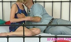 Stepdad enjoys big pussy fuck & stick his fat cock in her cunt then mouth facial