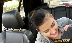 Pretty hot brunette Lily sucks and fucks on back seat of the cab